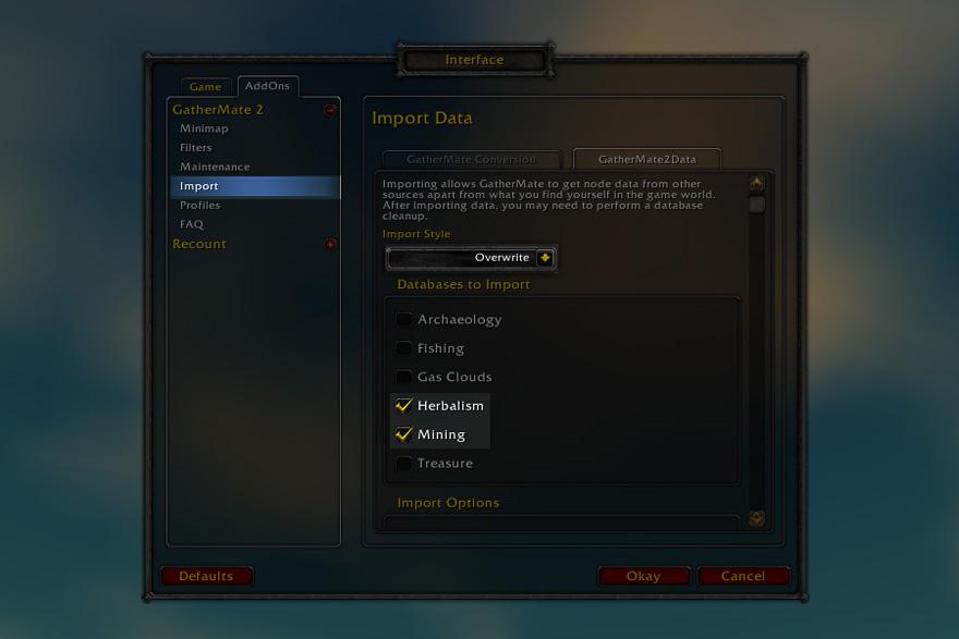 Importez les données dans Gathermate2