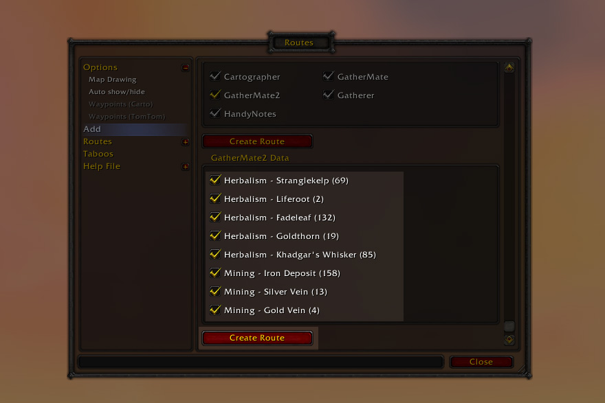 Gathermate2 et Routes : le guide complet - World of Warcraft