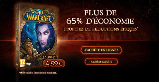 Jusqu'au 20 Juin 2011, bénéficiez World of Warcraft est disponible pour 4,99 euros