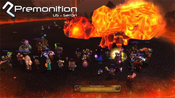 Premonition (US-Sen'Jin – Alliance) est la première guilde US à avoir vaincu Rhyolith héroïque