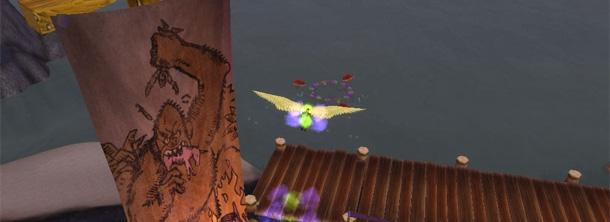 Lorsque votre personnage arrive au niveau du ponton, lâchez les ailes !