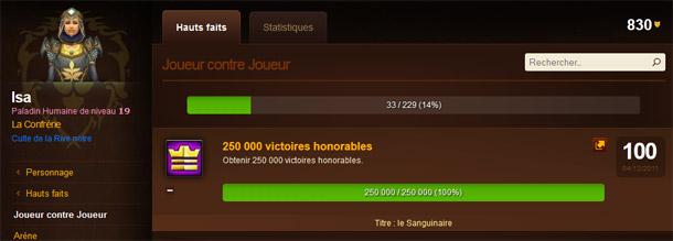 Du haut de son niveau 19, Isa obtenu plus de 250 000 victoires honorables !