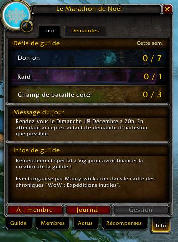 """Rejoignez la guilde """"Le Marathon de Noël"""" sur Hyjal"""