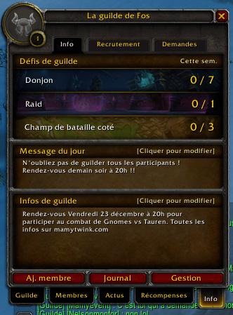"""Rejoignez la guilde """"La guilde de Fos"""" sur Hyjal !"""