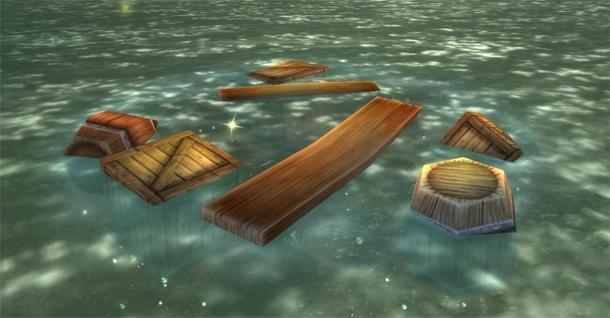 Des débris flottants