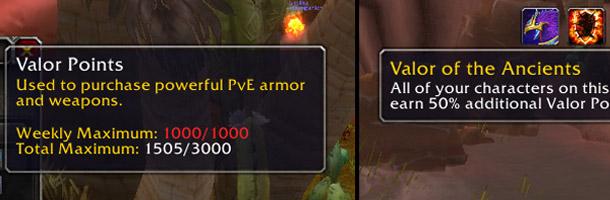 Amélioration Valor of the Ancients présente dans l'interface de jeu