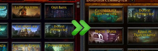 Le codex des donjons intègre désormais les anciennes instances