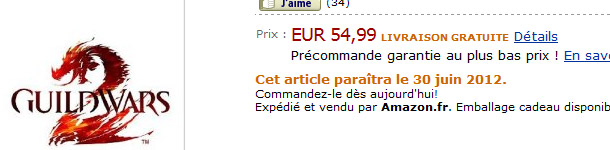 Selon Amazon.fr, Guild Wars 2 sortira le 30 juin 2012