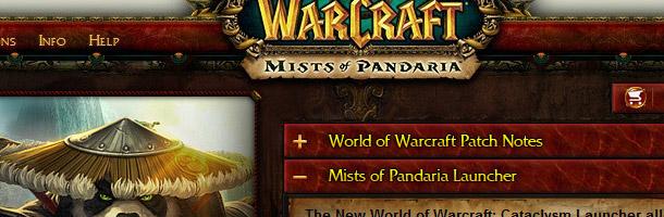 Vue plus détaillée du launcher de Mists of Pandaria