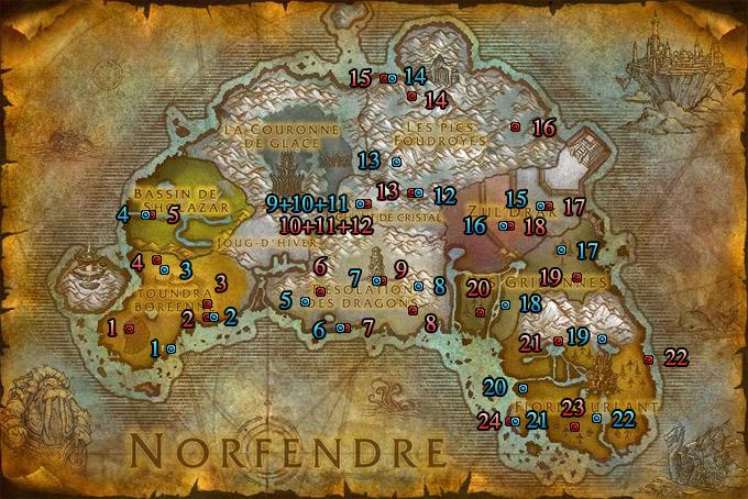 Emplacements des seaux de bonbons du Norfendre (Alliance et Horde)