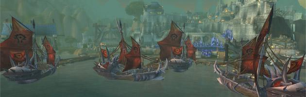 Hurlevent assaillie par la flotte de la Horde pendant le siège d'Orgrimmar