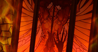 Un magnifique vitrail orne le stand