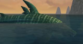 Gueule-Éternelle nage autour de l'île
