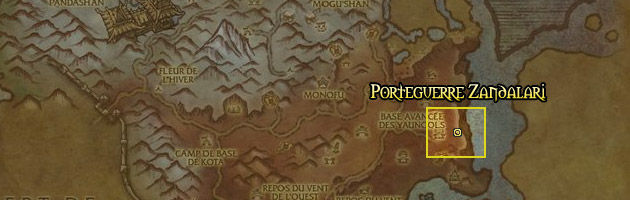 Le Porteguerre Zandalari vous attend à l'Ouest de la Base avancée des Yaungols