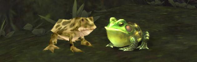 Deux modèles de grenouilles bien différents dans World of Warcraft