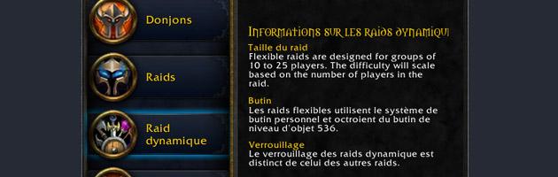 Au patch 5.4, vous bénéficierez d'un nouvel onglet pour les raids dynamiques