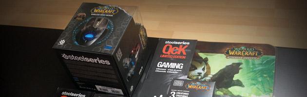 Lot 1 : souris MMO, tapis de souris Steelseries, gobelet WoW et Mega bloks
