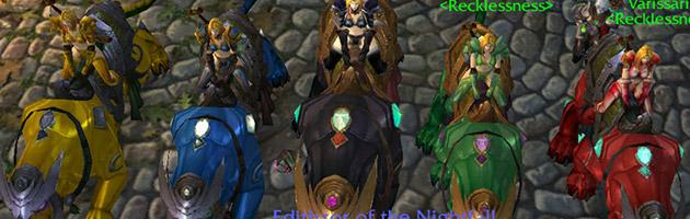 5 personnages connectés sur les montures panthères