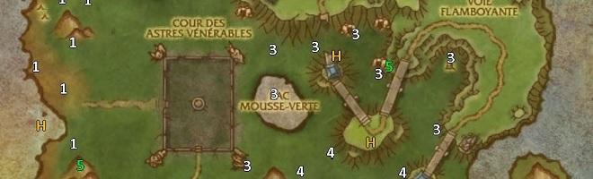 Carte de l'Île du Temps figé avec les emplacements des coffres