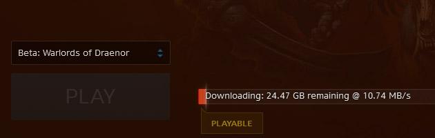 Téléchargement du client de jeu de l'alpha de Warlords of Draenor