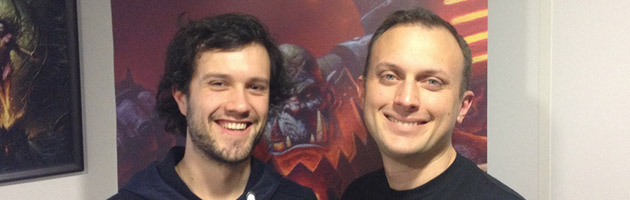 Mamytwink et Ion Hazzikostas lors du press tour Warlords of Draenor