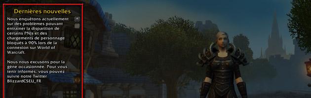 Message officiel de Blizzard sur l'écran de connexion