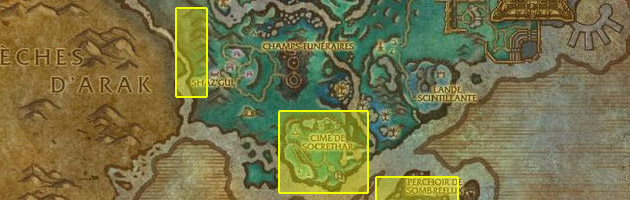 La carte des différents lieux à farmer (cliquez pour agrandir)