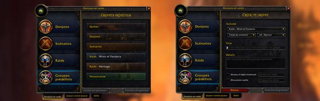Interface présentant l'outil des Groupes prédéfinis