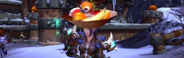 Pépé peut se poser au milieu de votre chapeau entre les fruits