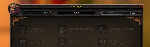 L'interface des objets héritage dans l'onglet collection