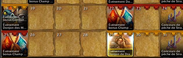 Les événements bonus font leur apparition sur le calendrier