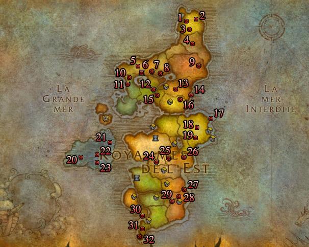 Emplacements des seaux de bonbons des Royaumes de l'Est pour la Horde