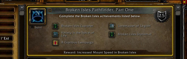 Legion alpha : méta haut-fait Broken Isles Pathfinder : Part One
