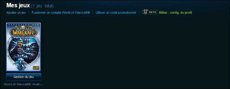 Vous pouvez accéder à la gestion de compte en cliquant sur le bouton Gestion du jeu dans l'Accueil du compte Battle.net.