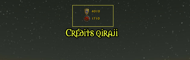 Le compteur de crédits qiraji se situe en haut de votre interface
