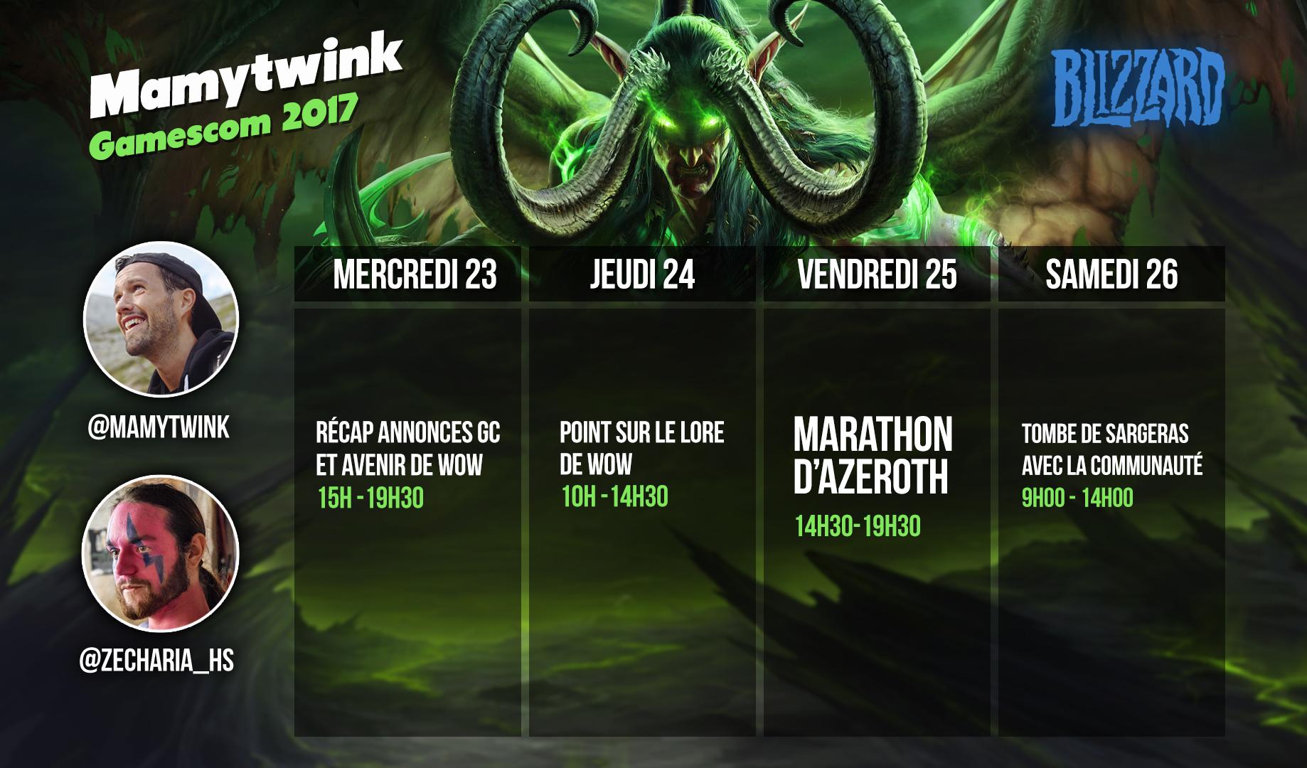 Le planning de la semaine de stream de Mamytwink et Zecharia