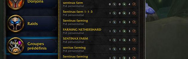 Trouver un groupe pour farmer les éclats du Néant est très facile.