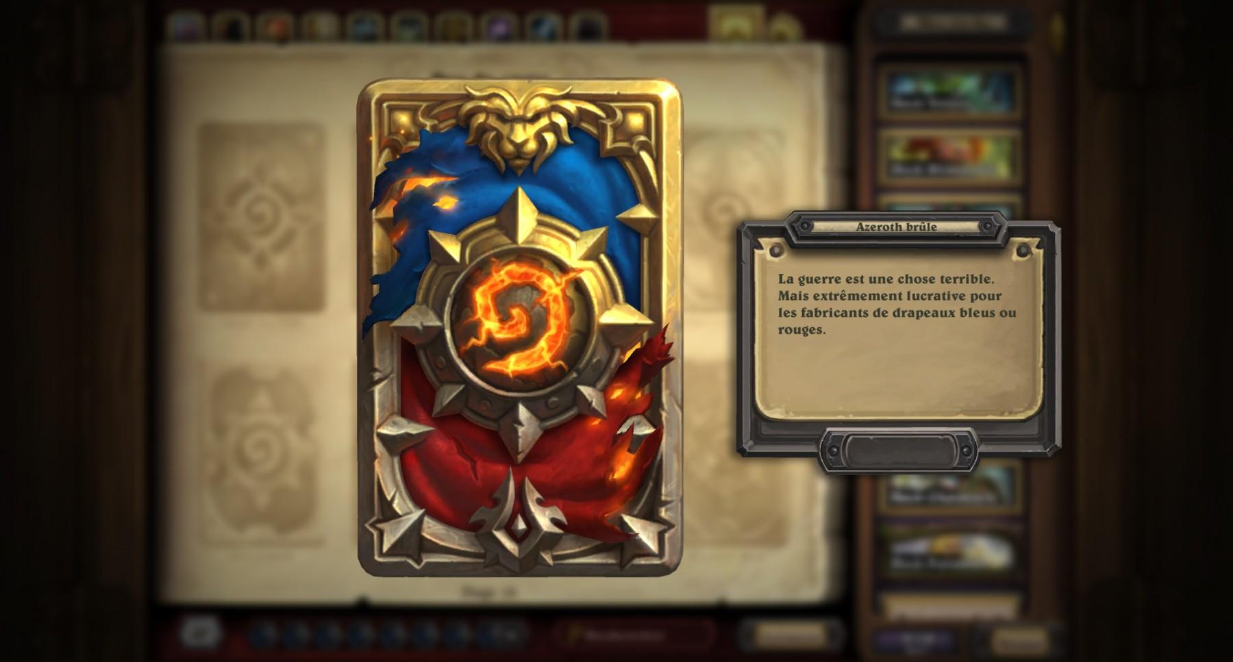 Dos de carte Hearthstone « Azeroth brûle » en jeu