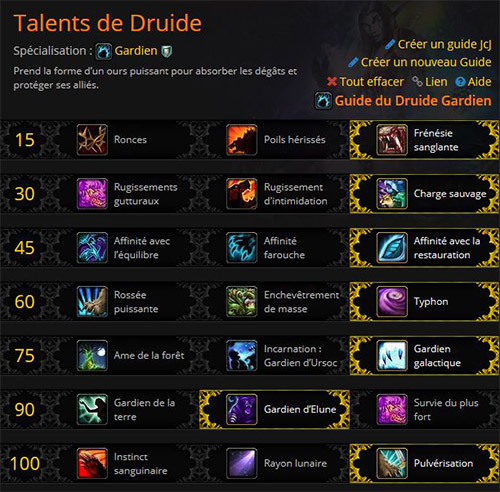 Talents Druide Gardien WoW