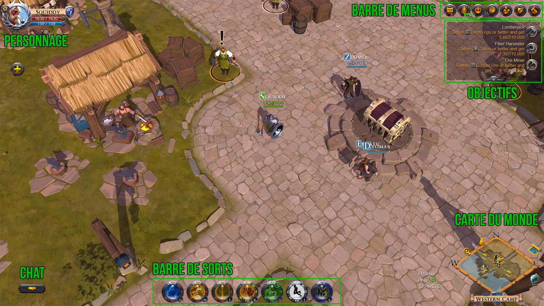 Les différents éléments d'interface d'Albion Online