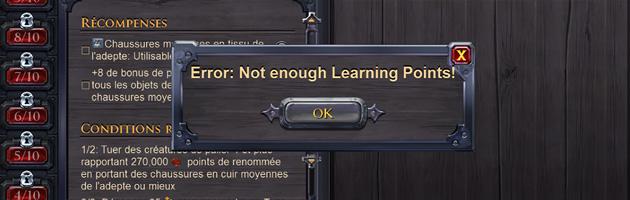 Utilisez vos points d'apprentissage avec sagesse !