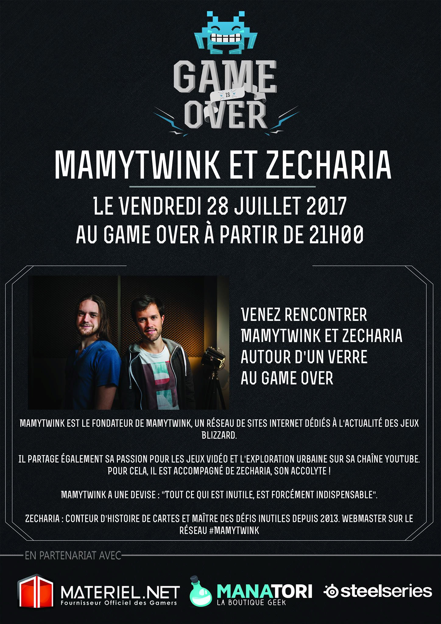 Mamytwink et Zecharia au bar Game Over de Nantes ce vendredi 28 juillet