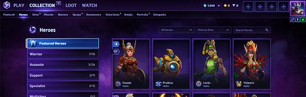 Nouvelle interface de collection des héros