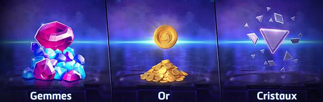 2 monnaies, les gemmes et les cristaux, sont ajoutées au jeu