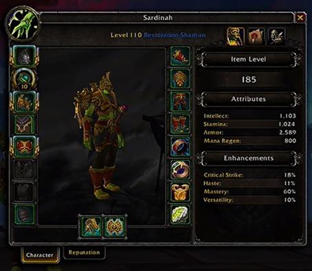 Un Chaman niveau 110 avec la réduction des statistiques de Battle for Azeroth