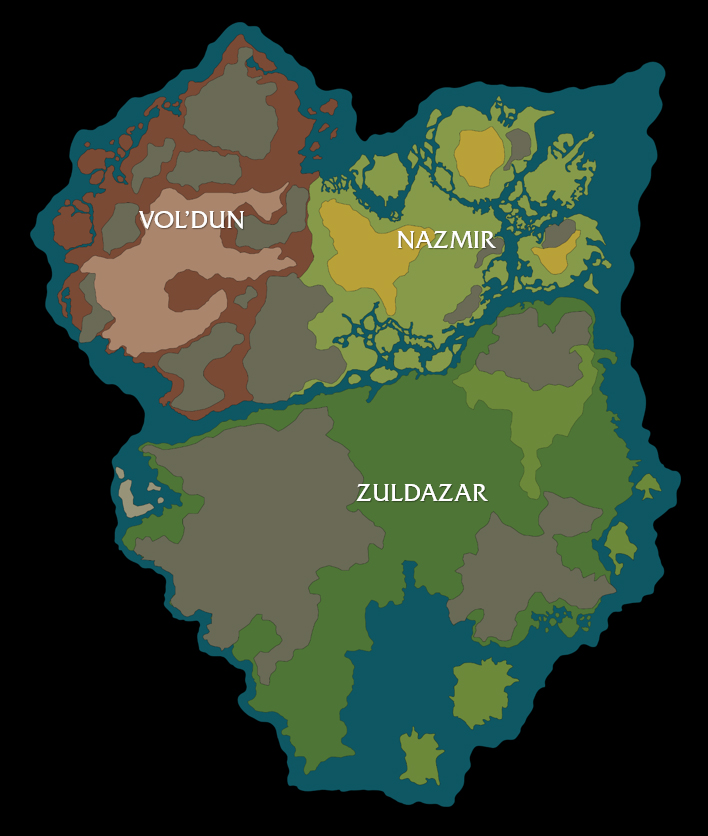 Carte du continent Zandalar dans Battle for Azeroth