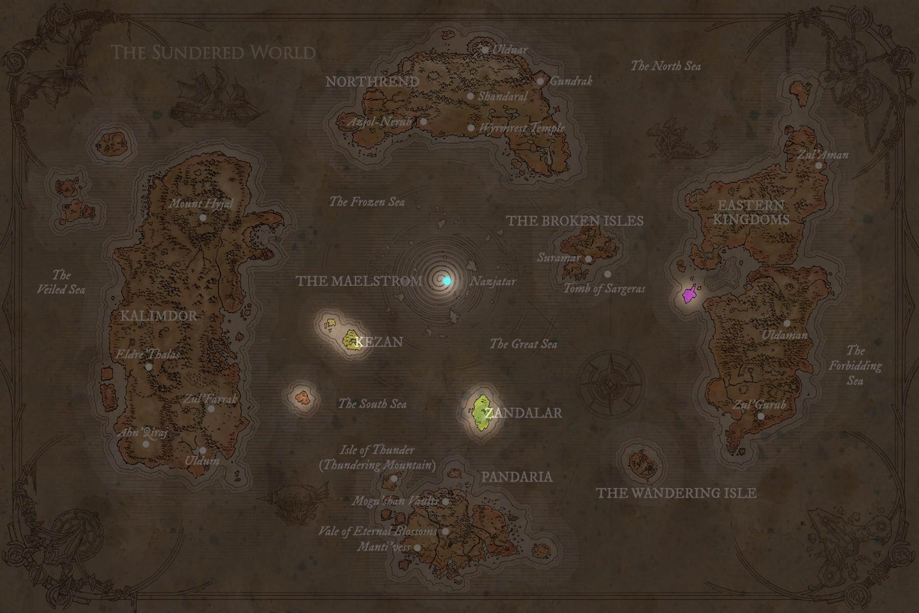 Carte d'Azeroth après la Fracture, avant le Cataclysme