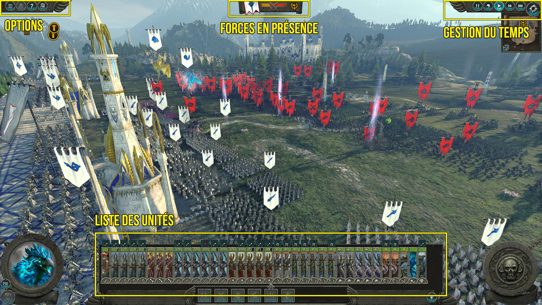 L'interface pendant les phases de batailles dans Total War : Warhammer 2