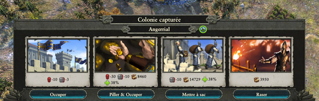 Lorsque vous parvenez à vaincre la garnison d'une ville, de nombreuses options s'offrent à vous