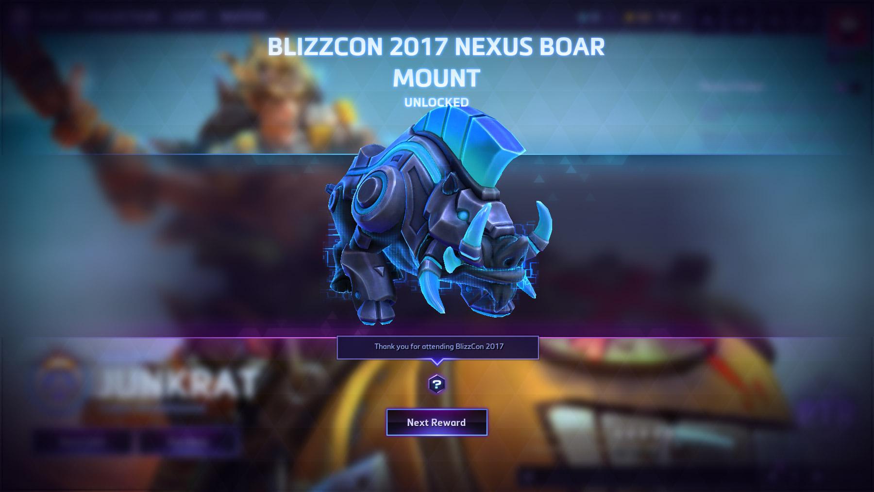 Bonus du billet virtuel de la Blizzcon 2017 : la monture Tranchedos